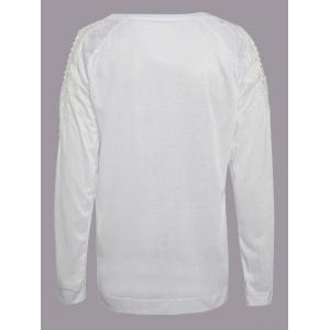 Chic Scoop Collar Long Sleeve Lace Spliced Cut Out Women's Sweatshirt - WHITE S