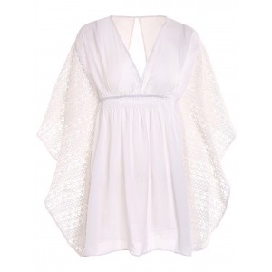Plunge Batwing Flowy Tunic Beach Cover Up - White - One Size(fit Size Xs To M)