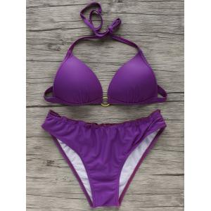 Refreshing Women's Halter Pure Color Bikini
