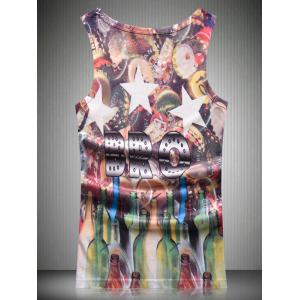 Round Neck Star and Glass Bottle 3D Print Tank Top For Men - COLORMIX L