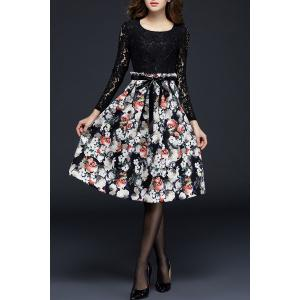 Long Sleeve Lace Panel Floral Dress -