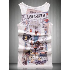 Round Neck Cartoon 3D Print Tank Top For Men -