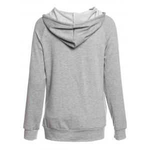 Trendy Hooded Long Sleeve Solid Color Pocket Design Women's Hoodie - GRAY M