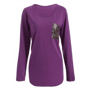 Chic Scoop Collar Long Sleeve Sequined Women's T-Shirt