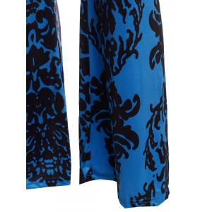 Elastic Waist Damask Printed Wide Leg Palazzo Pants - BLUE AND BLACK L