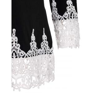 Stylish Scoop Neck 3/4 Sleeve Lace Splicing T-Shirt For Women -