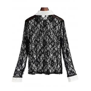 Stylish Turn-Down Collar Long Sleeve Color Block Slimming Lace Women's Blouse - BLACK S