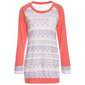 Stylish Round Neck Long Sleeve Printed Pocket Design Women's T-Shirt - Pink - Xl