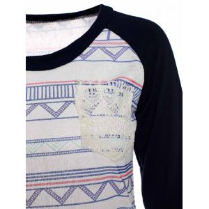 Stylish Round Neck Long Sleeve Printed Pocket Design Women's T-Shirt -