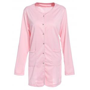 Refreshing Candy Color Single-Breasted Straight Trench Coat For Women - Pink - S