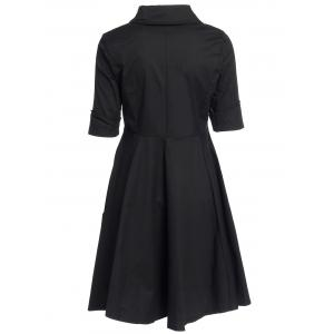 Vintage Turn-Down Collar Buttoned Short Sleeve Ball Dress For Women - BLACK M