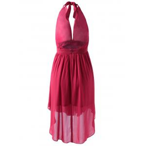 Fashionable Fitted Halterneck Open Back Dress For Women - RED L