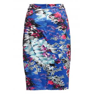 Stylish High Waist Color Block Bodycon Skirt For Women - COLORMIX S