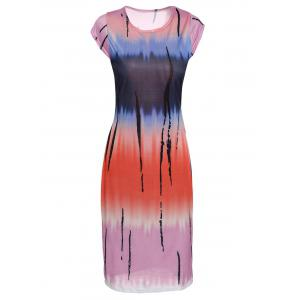 Stylish Round Neck Sleeveless Tie Dye Bodycon Women's Dress - Colormix - S