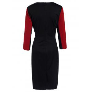 OL Style Round Neck 3/4 Sleeve Hit Color Zip Design Women's Bodycon Dress -