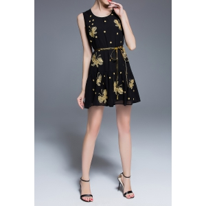Chiffon Butterfly Embroidered Dress -