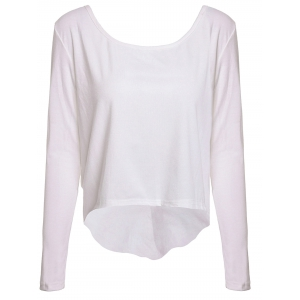 Fashionable White Backless Long Sleeve Irregular T-Shirt For Women