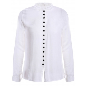 Casual Style V-Neck Long Sleeve Solid Color Single-Breasted Women's Blouse - White - One Size