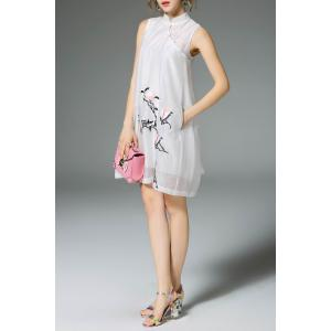 Embroidered A-Line Chiffon Dress -