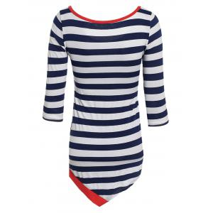 Stylish Scoop Collar Long Sleeve Striped Asymmetrical Women's T-Shirt - WATERMELON RED S