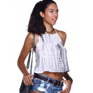 Tie Dye Camisole Tank Top - GREY AND WHITE L