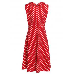 Sweetheart Neck Sleeveless Spliced Polka Dot Midi Dress -