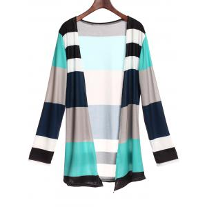 Casual Style Collarless Long Sleeve Colorful Stripe Women's Cardigan