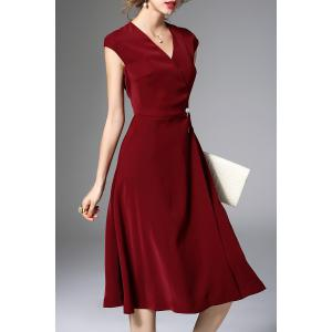 Pearls Belted Solid Color Dress -