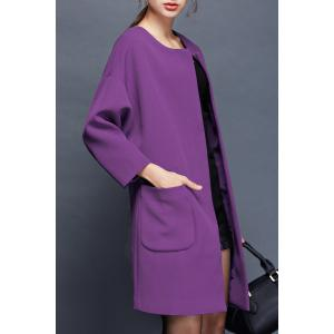 Collarless Long Coat with Pockets -