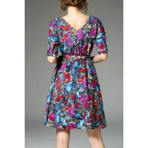Half Sleeve Colored Dress With Belt -