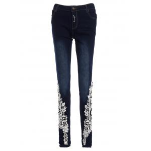 Lace-Spliced Jeans For Women