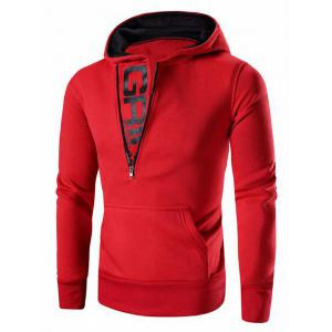 Letter Printed Zipper Design Long Sleeve Hoodie For Men