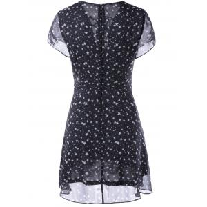 Fashionable V-Neck Cut-Out Chalaza Star Dress For Woman - WHITE/BLACK L