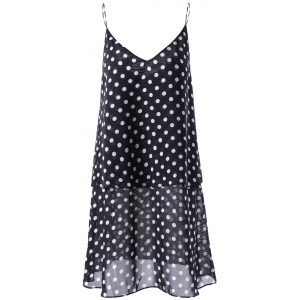 Fashionable V-Neck Spaghetti Strap Flounce Printing Dress For Woman