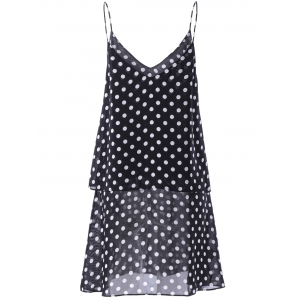 Fashionable V-Neck Spaghetti Strap Flounce Printing Dress For Woman - WHITE AND BLACK XL