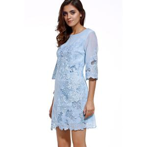 Round Neck Embroidery Hollow Out Dress -
