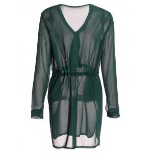 Graceful Plunging Neck Long Sleeve Solid Color Drawstring Women's Dress - BLACKISH GREEN S
