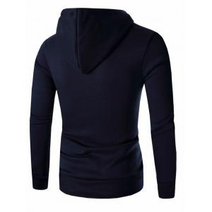 Button and Zipper Design Long Sleeve Hoodie For Men - CADETBLUE 3XL