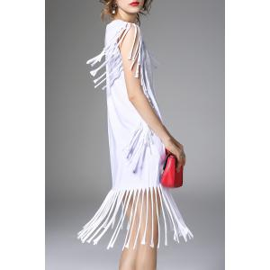White Fringe Hot Fix Rhinestone Dress -