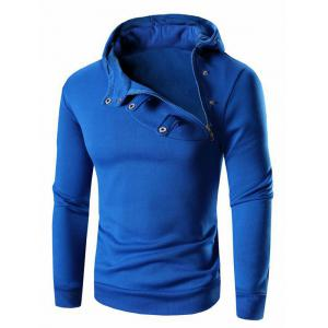 Button and Zipper Design Long Sleeve Hoodie For Men