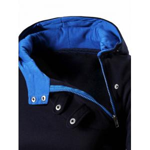 Button and Zipper Design Long Sleeve Hoodie For Men -