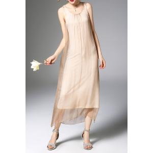 Gauze Splicing Solid Color Dress -