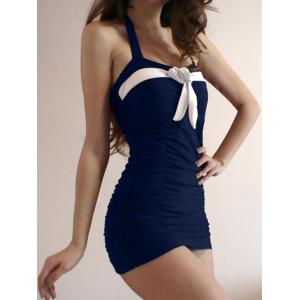 Color Block Halter Bow Vintage One Piece Swimsuit - PURPLISH BLUE M