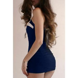 Blouson de couleur Halter Bow Vintage One Piece Swimsuit - Bleu Violet M