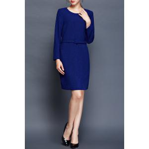 Belted Long Sleeve Bodycon OL Dress -