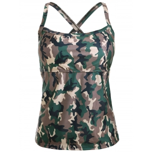 Cross Back Camo Tankini Swimsuit - CAMOUFLAGE XL