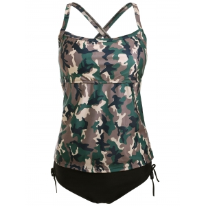 Cross Back Camo Tankini Swimsuit - Camouflage - M