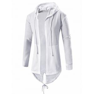 Cardigan Pocket Design Hoodie Long Sleeve Jacket For Men - White - Xl