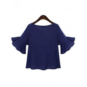 Sweet Jewel Neck Trumpet Sleeve Applique T-Shirt For Women -