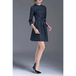 Stand Collar Plaid A Line Dress -